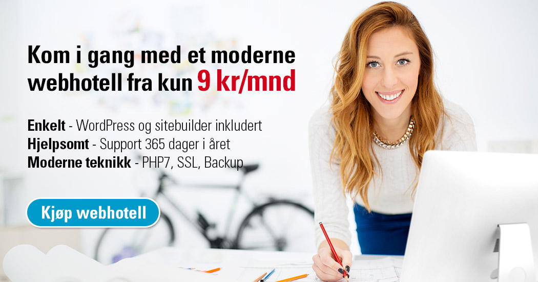 Kom i gang med et moderne webhotell fra kun 9 kr/mnd