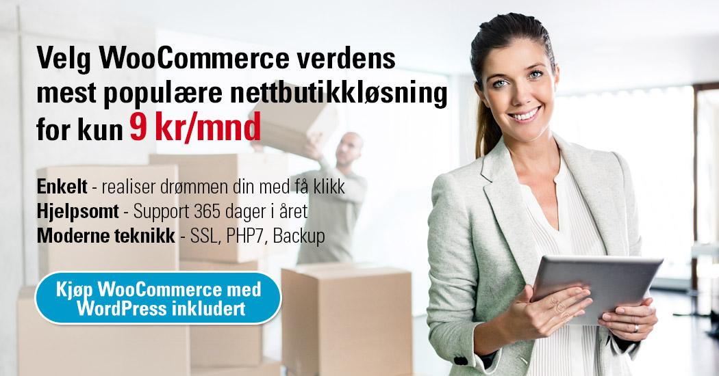 Hos Loopia kan du kjøpe WooCommerce verdens mest populære nettbutikkløsning for kun 9 kr/mnd