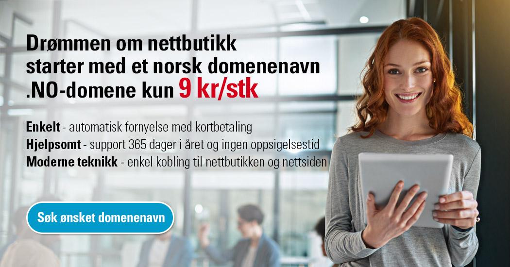 Drømmen om nettbutikk starter med et norsk domenenavn .NO-domene kun 9 kr/stk