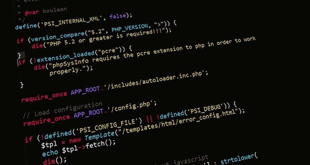 Programmeringskode som viser PHP